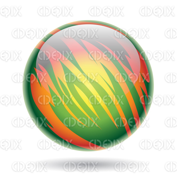 Glossy Planet Sphere with Green and Yellow Stripes stock illustration
