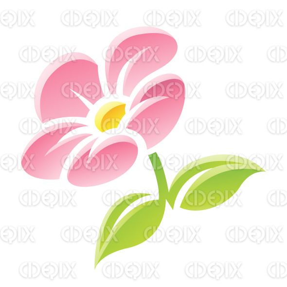 Pink Glossy Cartoon Flower Icon Stock Illustration