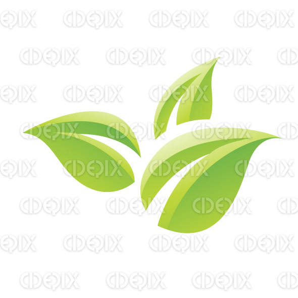 Green Glossy Cartoon Leaves Icon stock illustration