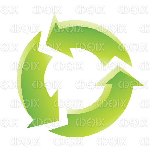 Green Glossy Cartoon Recycling Icon stock illustration