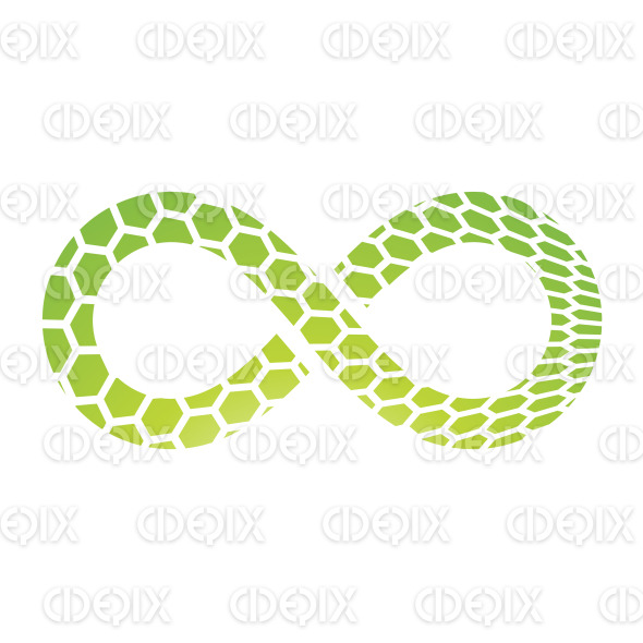 Green Honeycomb Textured Infinity Symbol Design stock illustration