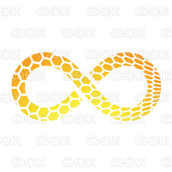 Orange Honeycomb Textured Infinity Symbol Design stock illustration