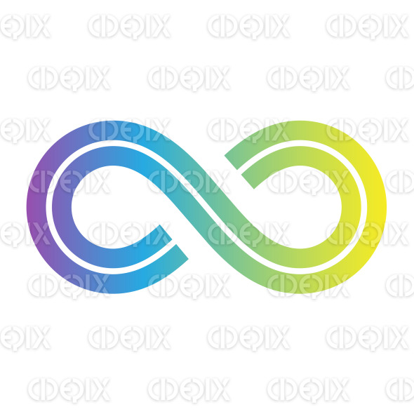 Blue Yellow Retro Style Infinity Symbol Design stock illustration