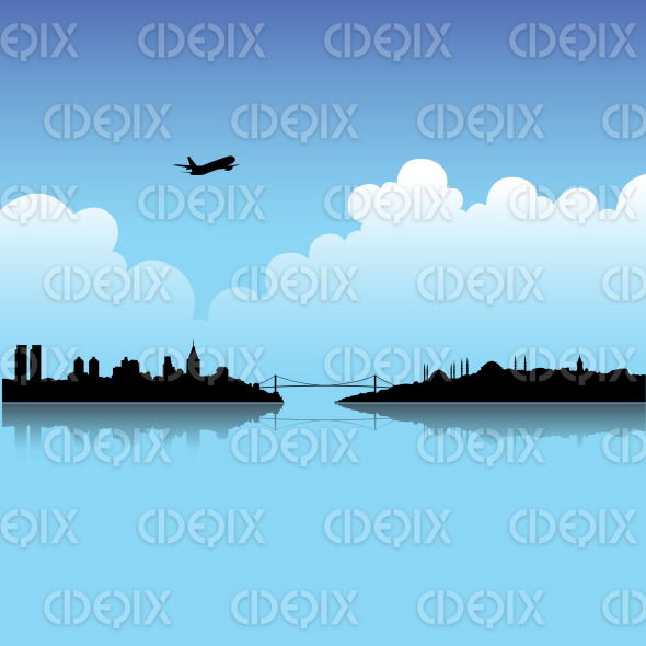 Istanbul Skyline and City Silhouette under the Blue Sky stock illustration