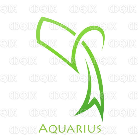 Green Lines Simplistic Aquarius Zodiac Star Sign stock illustration