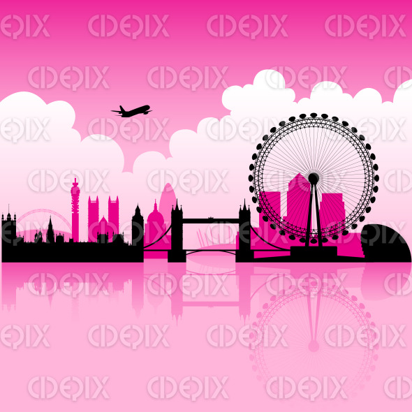 London Magenta Skyline with Reflection on Thames stock illustration