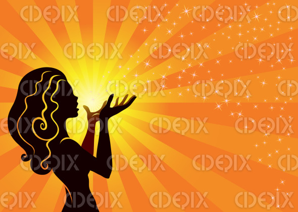 Magical Fairy Girl Blows Stardust on Orange Background stock illustration
