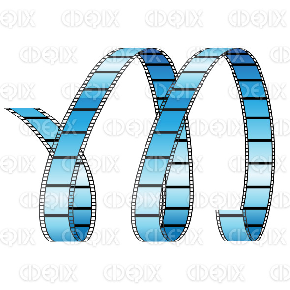 Blue Curly Film Reel Resembling Letter M stock illustration