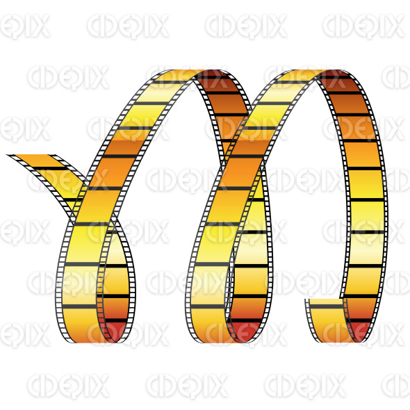 Brown Glossy Curly Film Reel Resembling Letter M stock illustration