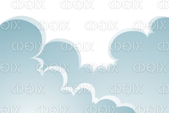 Puffy Cartoon Clouds Nature Landscape stock illustration