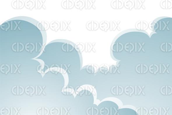 Puffy Cartoon Clouds Nature Landscape stock illustration