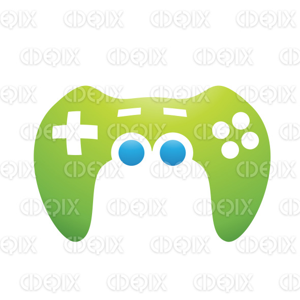 Green and Blue PC Accessories Game Controller stock illustration