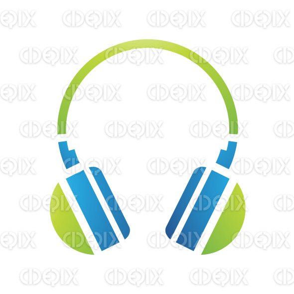 Green and Blue PC Accessories Headphones Icon stock illustration