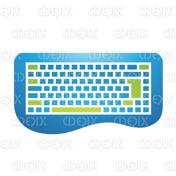 Green and Blue PC Accessories Keyboard Icon stock illustration