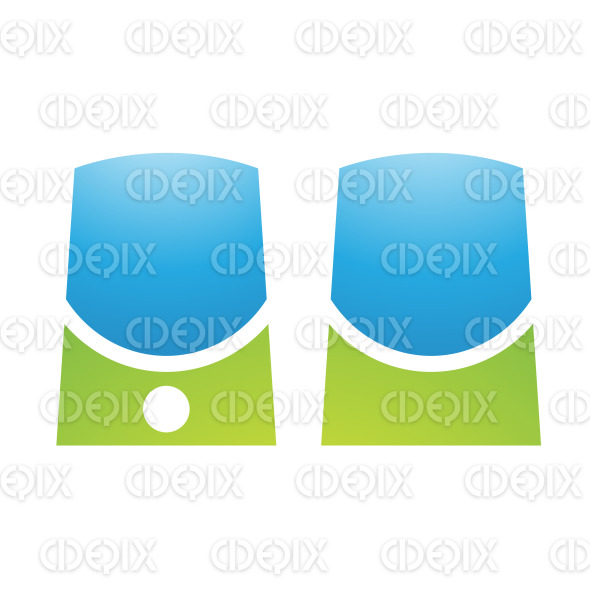 Green and Blue PC Accessories Speakers stock illustration