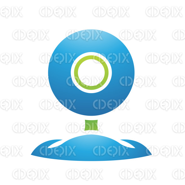 Green and Blue PC Accessories Web Cam stock illustration