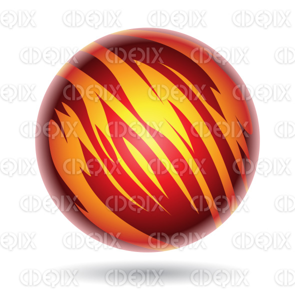 Red and Yellow Striped Planet Sphere stock illustration