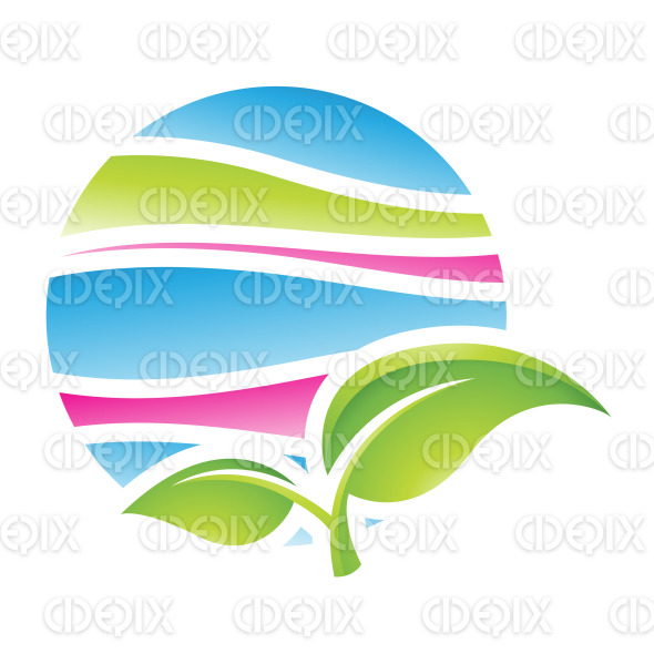 Green and Blue Spring Season Icon stock illustration