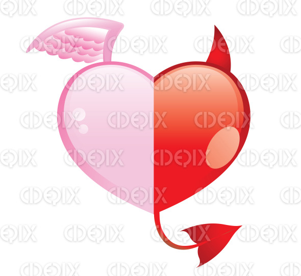 angel and devil hearts, good and evil love stock illustration