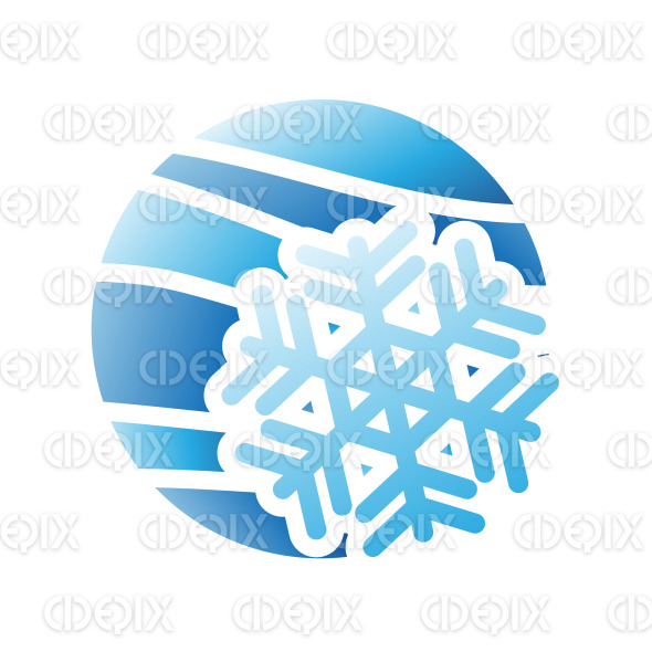 Blue Snowflake and Winter Season Icon stock illustration