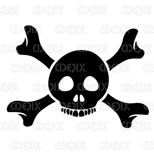 Black Skull and the Crossbones Cartoon Icon stock illustration