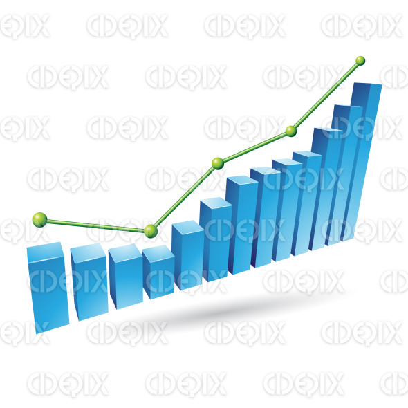 Blue 3d Stats Bars Graph stock illustration
