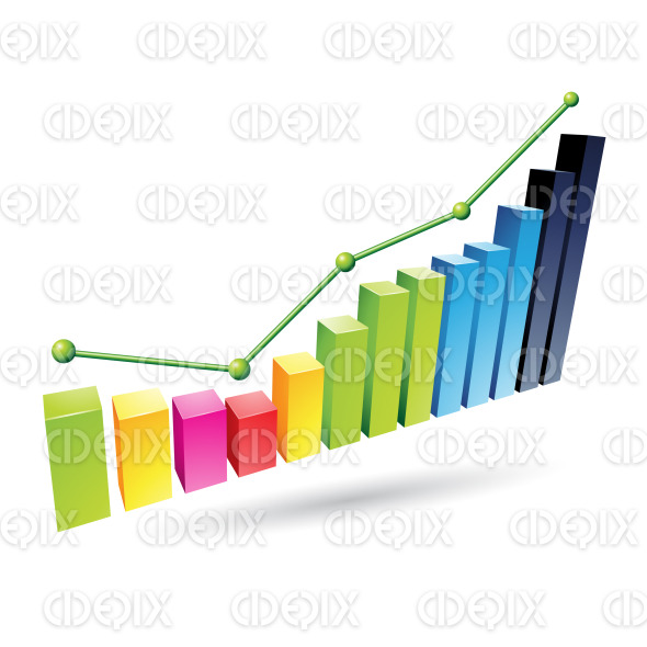 Colorful 3d Stats Bars Graph stock illustration