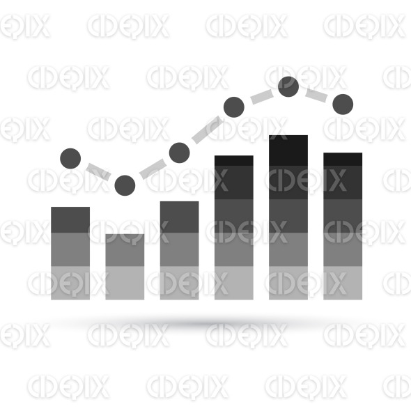 Black and Grey Stats Graph Icon stock illustration