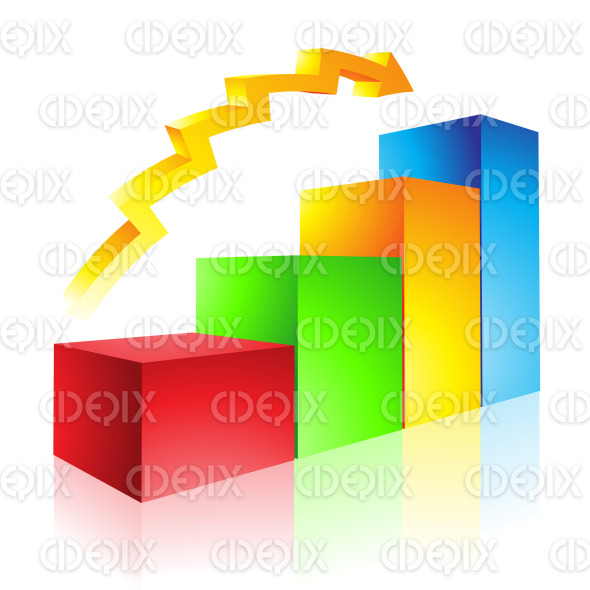 Red Green Yellow and Blue Glossy Stat Bars and Arrow stock illustration
