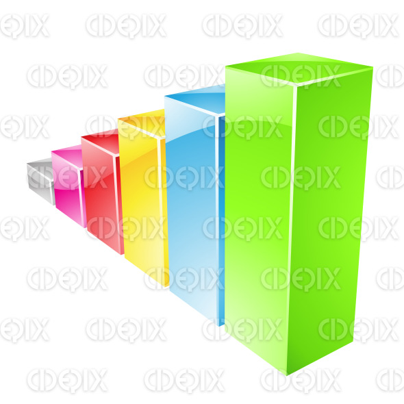 Colorful Glossy Stats Bars Graph stock illustration