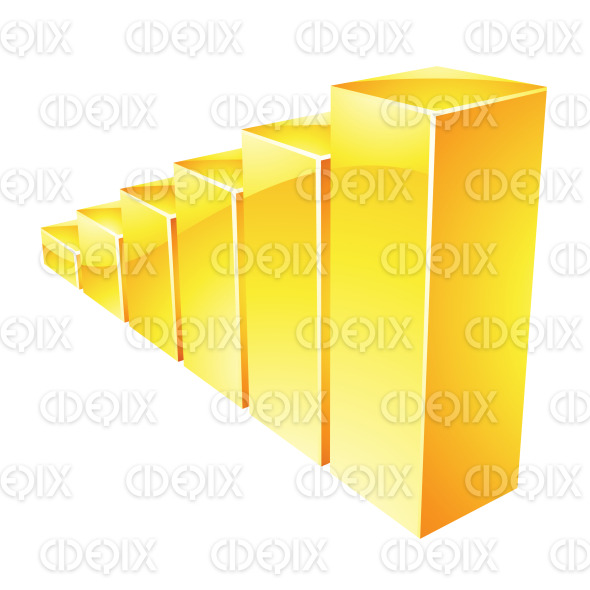Yellow Glossy Stats Bars Icon stock illustration
