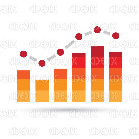 Orange and Red Stats Bars Icon stock illustration