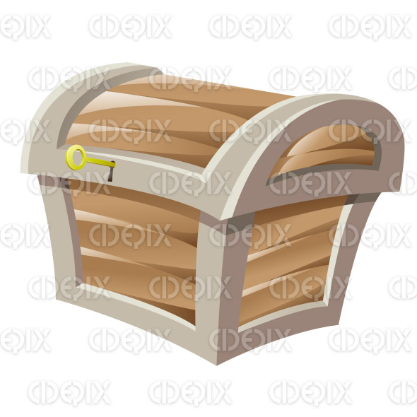 Brown Wooden Treasure Chest and Golden Key stock illustration