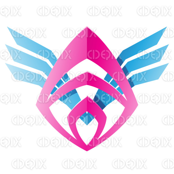 Blue and Pink Blade Shaped Abstract Icon stock illustration