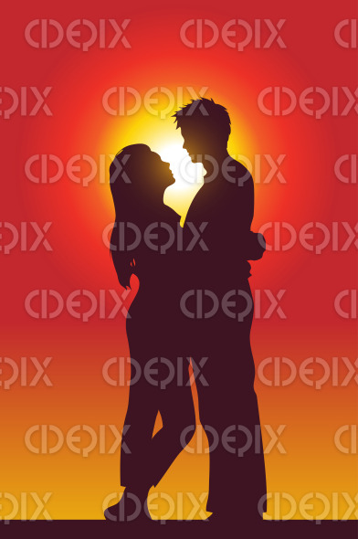 happy loving couple holding each other at sunset stock illustration