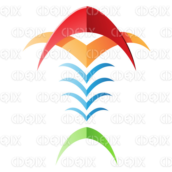 Blade Like Fish Bones Abstract Icon stock illustration