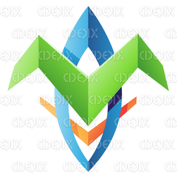 Green and Blue Wing Like Blade Shaped Abstract Icon stock illustration