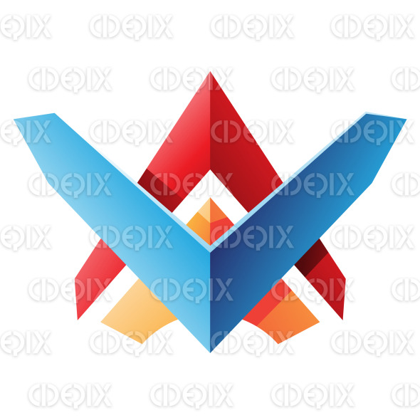 Blue Red and Orange Wing like Blade Shaped Abstract Icon stock illustration