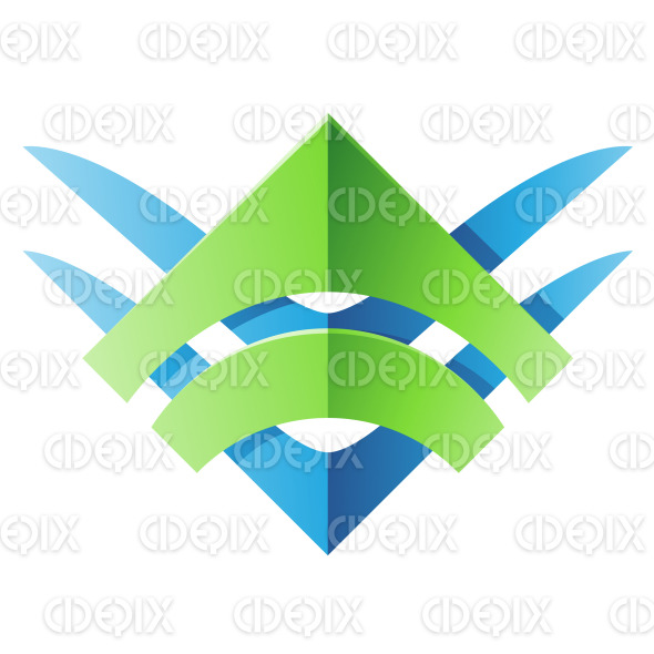 Green and Blue Blade Shaped Abstract Icon stock illustration