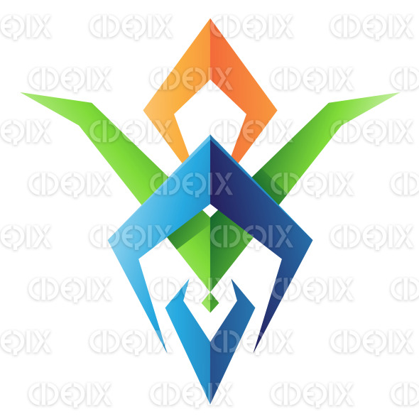 Green Orange and Blue Blade Shaped Abstract Icon stock illustration