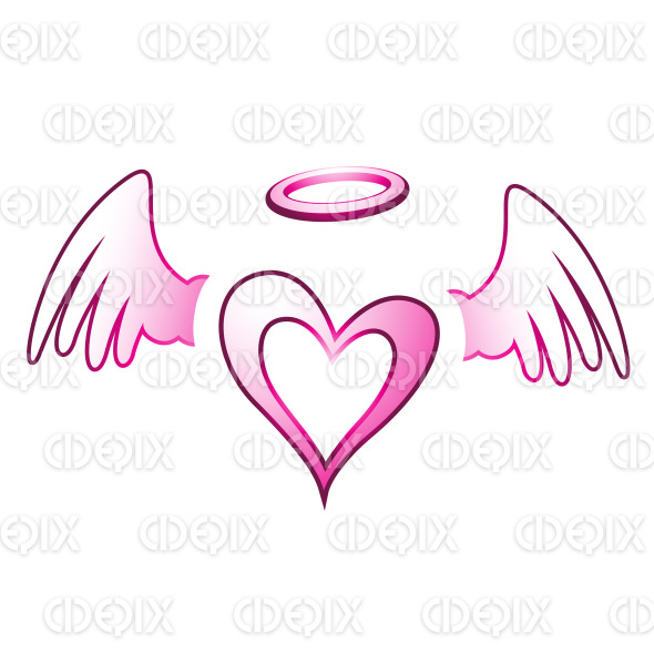 Pink Angel Heart with Halo and Wings stock illustration