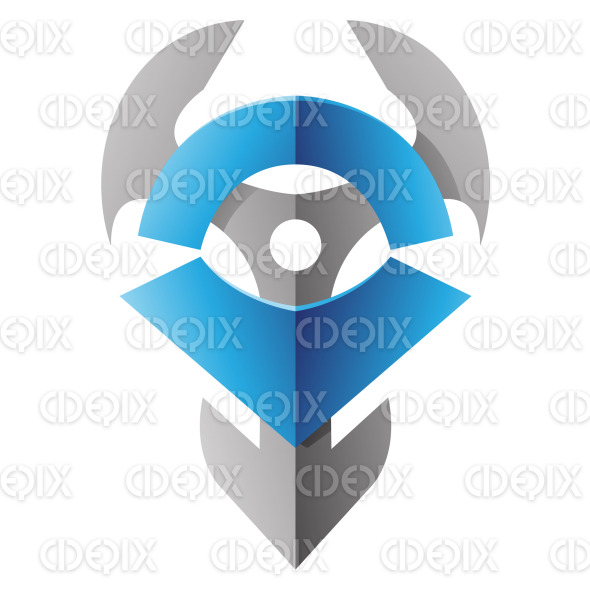 Grey and Blue Anchor like Blade Abstract Icon stock illustration