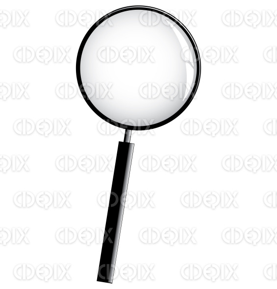 black magnifier icon isolated on a white background stock illustration
