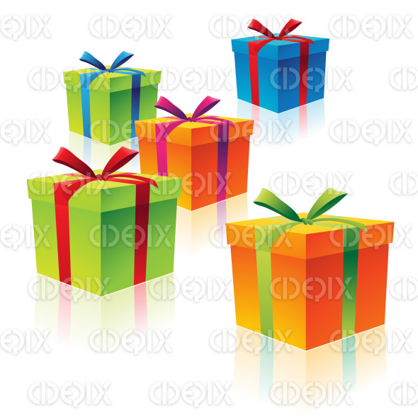 Green Orange Blue Red and Purple Cardboard Gift Boxes stock illustration