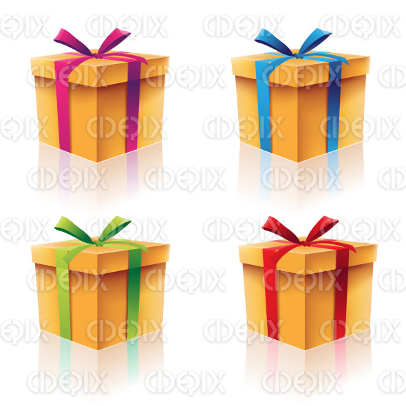 Gift Boxes Set with Green Blue Red and Purple Ribbons stock illustration