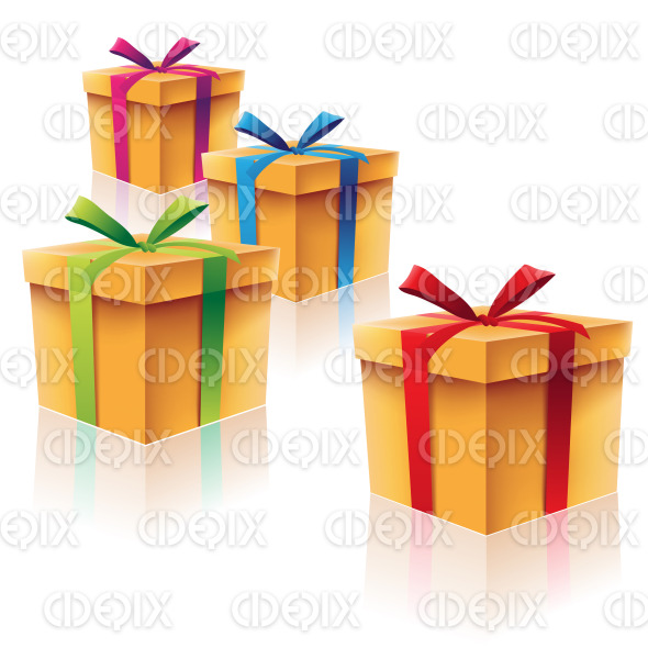 Cardboard Gift Boxes with Green Blue Red and Purple Ribbons stock illustration