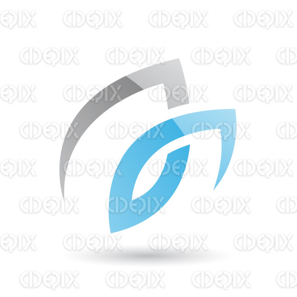 Grey and Blue Swirly Abstract Icon stock illustration
