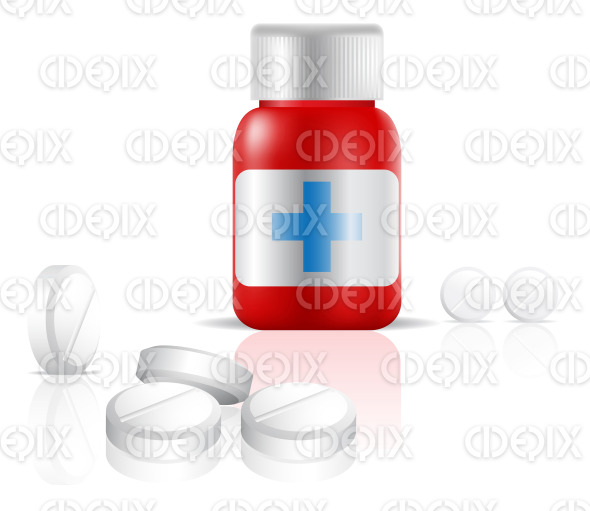 a small red bottle of painkiller medication drugs stock illustration