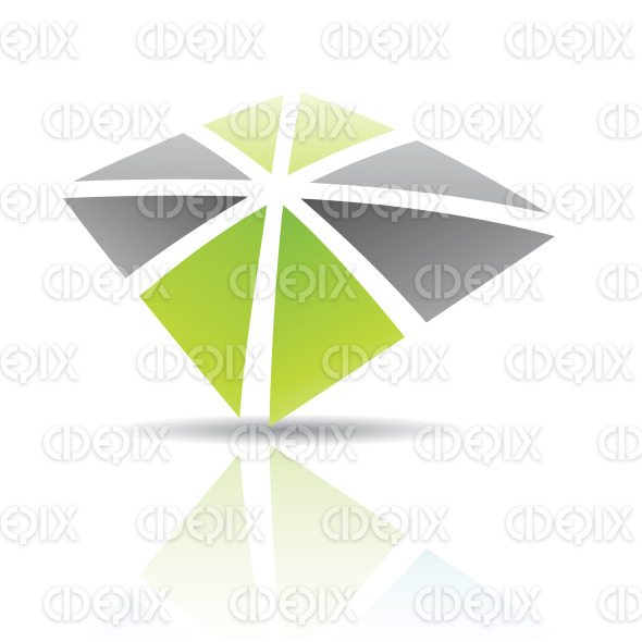 Black and Green Abstract Icon Illustration stock illustration