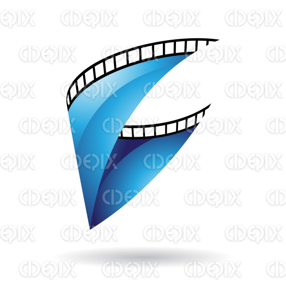 Blue Glossy Film Reel icon stock illustration